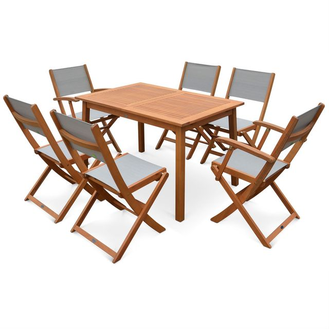 Salon de jardin en bois Almeria, table 120-180cm rectangulaire avec allonge papillon, 2 fauteuils et 4 chaises eucalyptus FSC et textilène gris taupe 6 places
