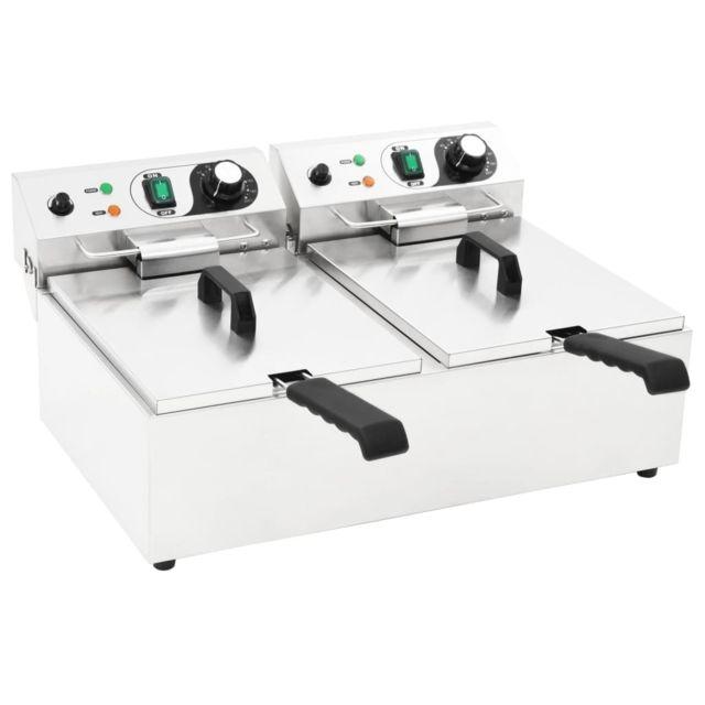 sublime Électroménager de cuisine selection Paris Friteuse double électrique Acier inoxydable 20 L 6000 W