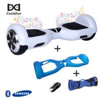 COOL AND FUN - COOL&FUN Hoverboard Batterie Samsung Enseigne Bleutooth, gyropode 6,5 pouces Blanc + Housse de protection Bleu + Sac de transport