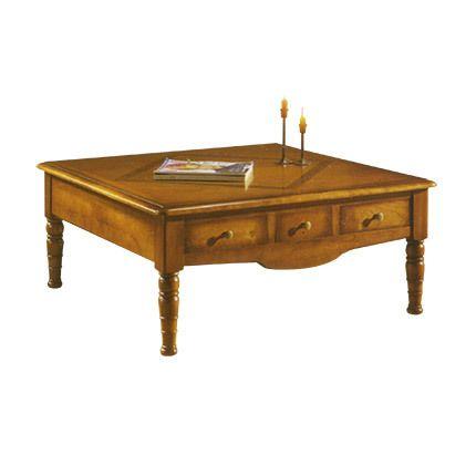 Table basse carrée 3 tiroirs en chêne massif