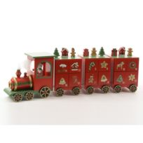 Decoris - Petit train / calendrier de l'avent en bois rouge 48x9.5x15cm Camp