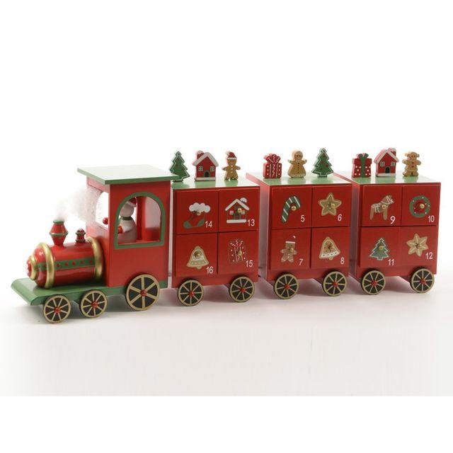 decoris petit train calendrier de l 39 avent en bois rouge camp pas cher achat. Black Bedroom Furniture Sets. Home Design Ideas