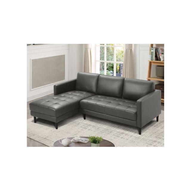 Canapé d'angle en cuir VITAU - Taupe - Angle gauche