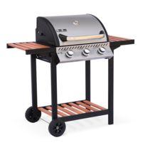 ALICE'S GARDEN - Barbecue au gaz - Ernest Inox - 3 brûleurs, tablettes en bois, grilles en fonte, thermomètre, roues, garde au chaud, cuisine extérieure