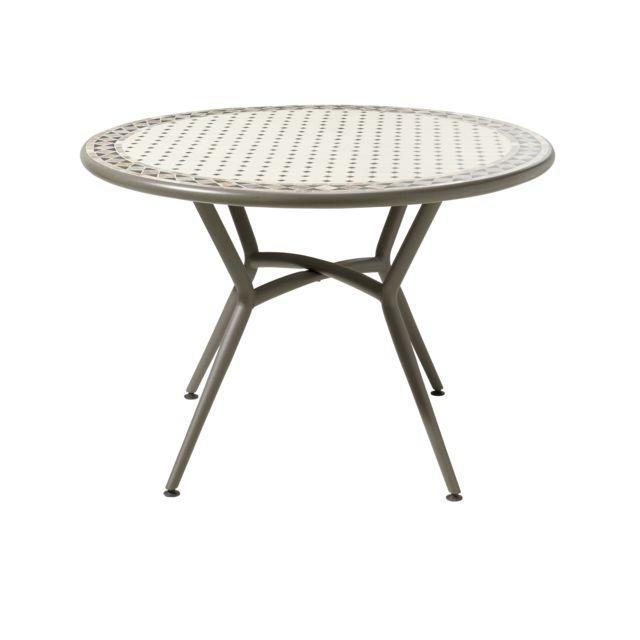 Carrefour - Table ronde de jardin - Métal et céramique ...