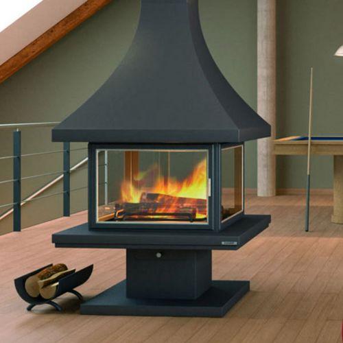 focgrup chemin e ch86 centrale avec base et foyer acier et avec porte anthracite pas cher. Black Bedroom Furniture Sets. Home Design Ideas