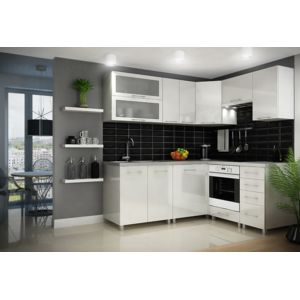 dusine cuisine blanc laqu e infinity 9 l ments angle pas cher achat vente cuisine. Black Bedroom Furniture Sets. Home Design Ideas