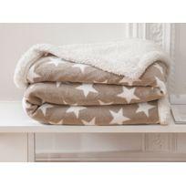 Today - Plaid réversible polyeste étoile sherpa beige/blanc 125x150cm Starnc