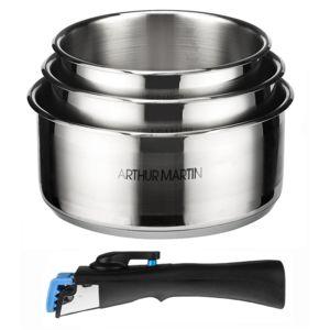 Arthur-Martin Electrolux - Set de 3 casseroles 16-18-20 cm + 1 poignée