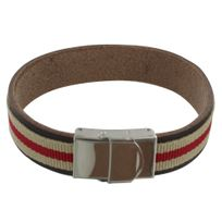 5fd98c77d878 Les Poulettes Bijoux - Bracelet Homme Cuir Marron Galon Rouge et Beige