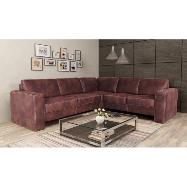 Rocambolesk Canapé Santorini 2,5A2 Tobago 14 brun angle droit sofa divan