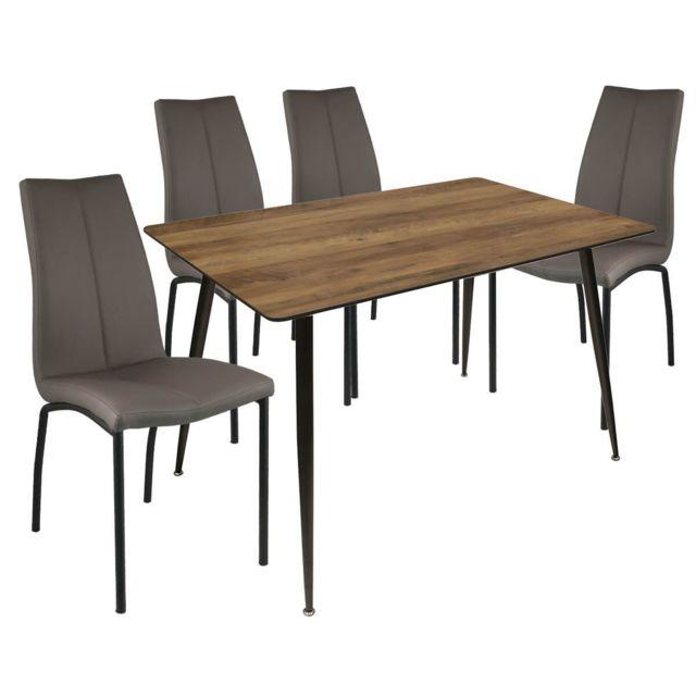 Altobuy Jaryani - Ensemble Table Repas + 4 Chaises Simili Taupe