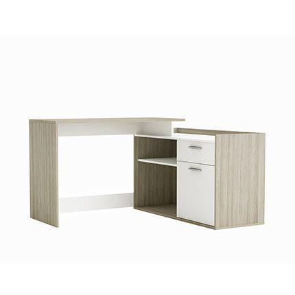 Bureau angle 1 porte 2 niches 1 tiroir en blanc et bois naturel