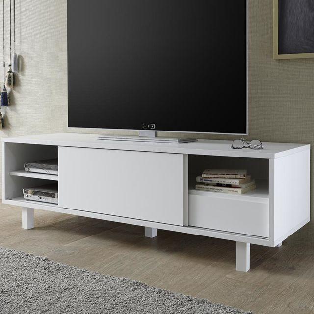 Kasalinea Meuble Tv Design Blanc Laque Mat Arsene Pas Cher Achat