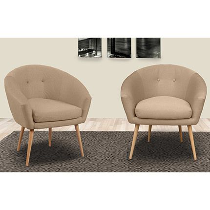 Lot de 2 fauteuils dossier arrondi en tissu ficelle for Canape a dossier arrondi