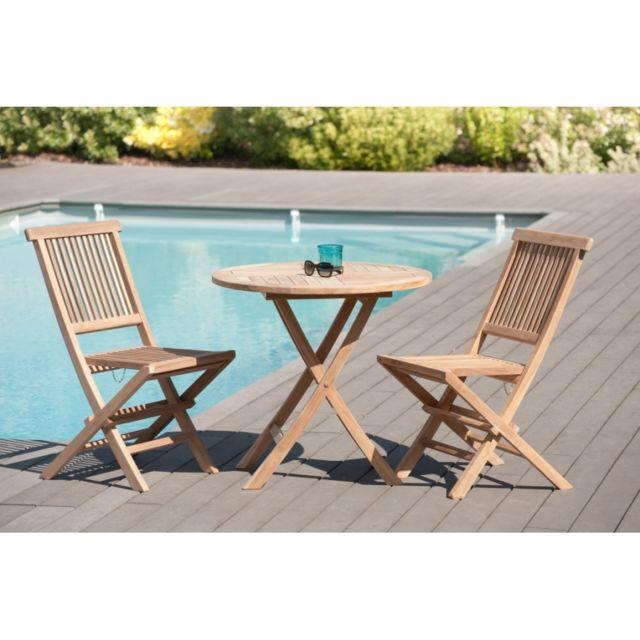 Salon de jardin en teck grade A, comprenant 1 table ronde pliante 80 cm et  1 lot de 2 chaises java