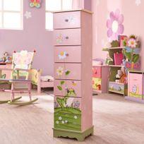 Commode rangement enfant Magic Garden bois 7 tiroirs chambre fille bébé  W-8987A