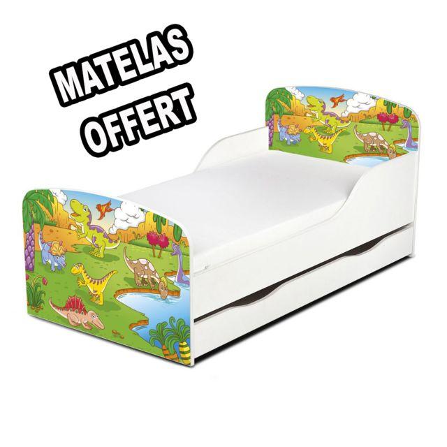 leomark lit junior dinosaures avec grand tiroir de rangement pas cher achat vente lit. Black Bedroom Furniture Sets. Home Design Ideas