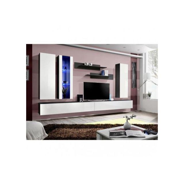 Price Factory Meuble Tv Fly E4 Design Coloris Blanc Brillant