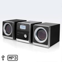 Marque Generique - Mini chaîne Hi-Fi allure vintage - écran Lcd avec horloge lecteur Cd / Mp3 radio Am / Fm