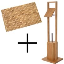 Set de salle de bains Hwc-b18, Porte-rouleau papier toilette / Wc, Tapis de  bain, Bambou