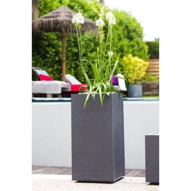 JARDINIERE - BAC A FLEUR EDA Pot de fleurs haut carré Graphit - 39,5 x 39,5 x H 80 cm - 31 L - Gris anthracite