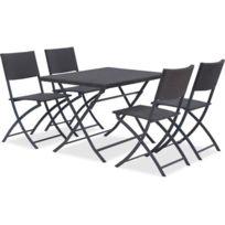 Salon De Jardin - Ensemble Table Chaise Fauteuil De Jardin Finlandek -  Salon de jardin en résine tressée - Table Rectangulaire pliable 110 cm + 4  ...