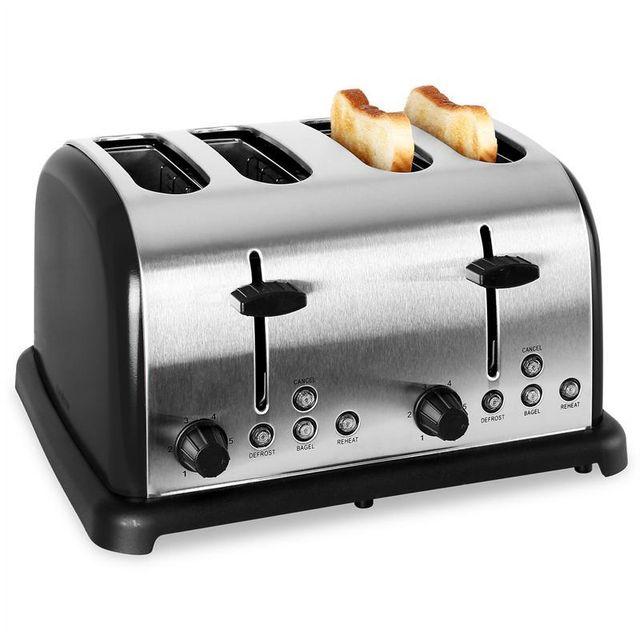 KLARSTEIN Grille Pain Toaster 4 fentes inox 1650W noir