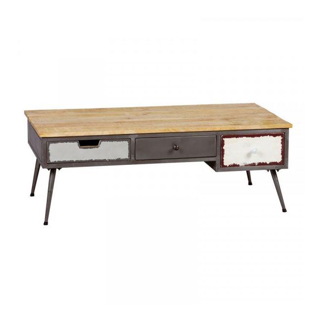 Dansmamaison Table basse 3 tiroirs Bois/Métal - Pyplus - L 115 x l 60 x H 45 cm