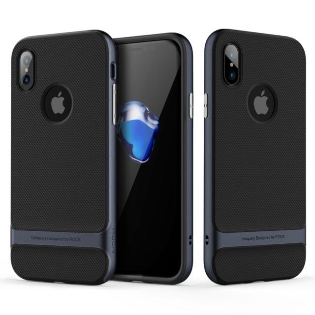 940ea9b49b Wewoo - Coque renforcée bleu marine pour iPhone X Pc + Tpu Housse de  protection arrière