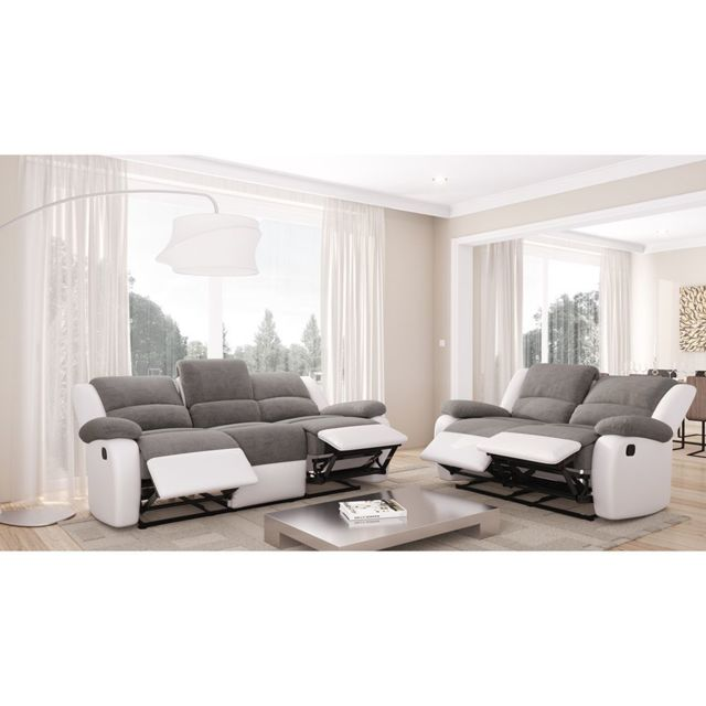 Usinestreet - Ensemble de Canapés Relaxation 3 places et 2 places Microfibre Grise / Simili cuir Blanc Detente Blanc / Gris - 334cm x 96cm x 93cm