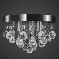 Vida - Lustre plafonnier contemporain cristal lampe chromé