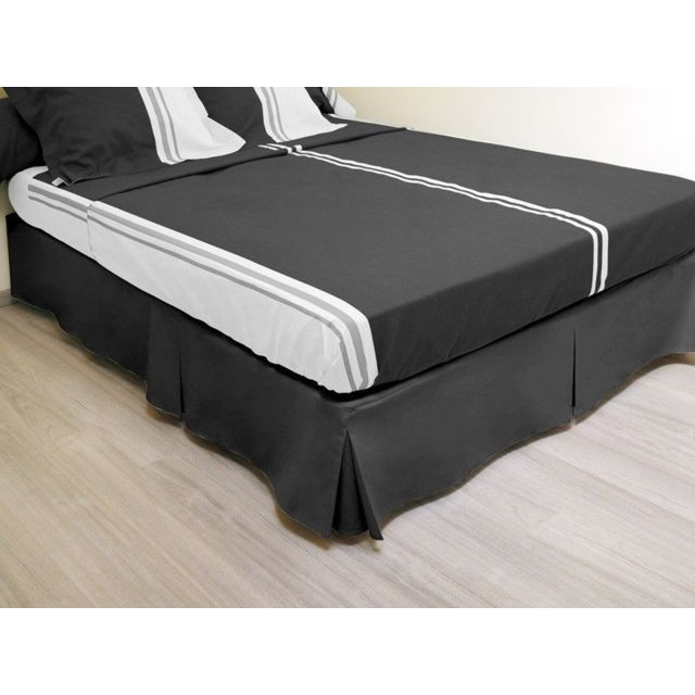 sans marque cache sommier plateau 3 plis 160x200 cm noir nc pas cher achat vente cache. Black Bedroom Furniture Sets. Home Design Ideas