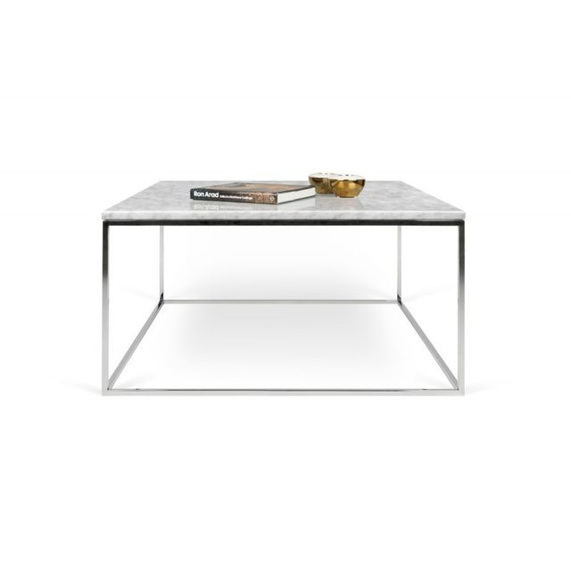 Table Basse En Marbre Blanc.Temahome Table Basse Gleam 75cm Marbre Blanc Metal Chrome