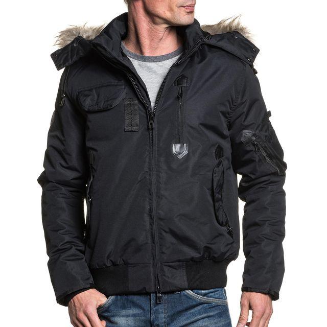 BLZ Jeans - Blouson homme noir hiver capuche fourrure - pas cher ... e0b8e30e9a04
