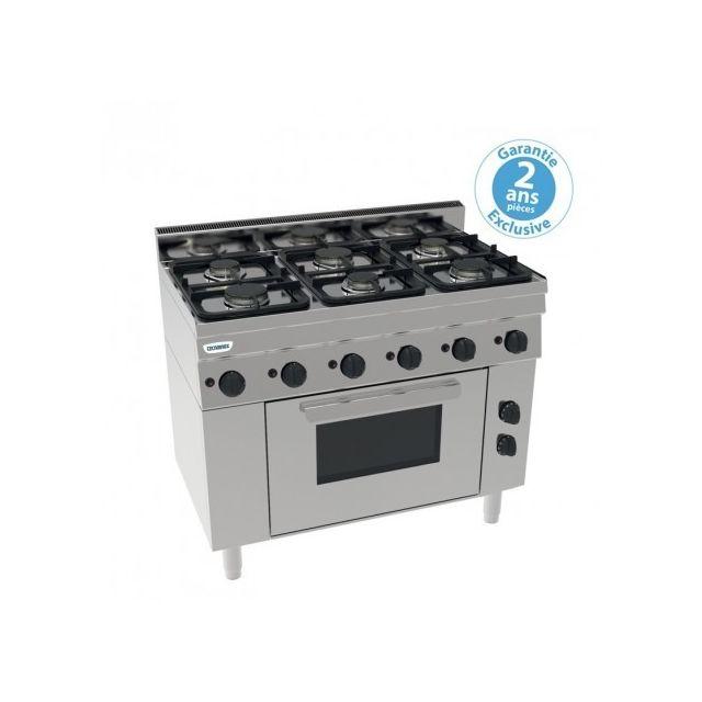 Materiel Chr Pro Piano de cuisson 6 feux sur four électrique ventilé Gn 1/1 - grilles 530 x 325 mm - gamme 600 - Tecnoinox - 600