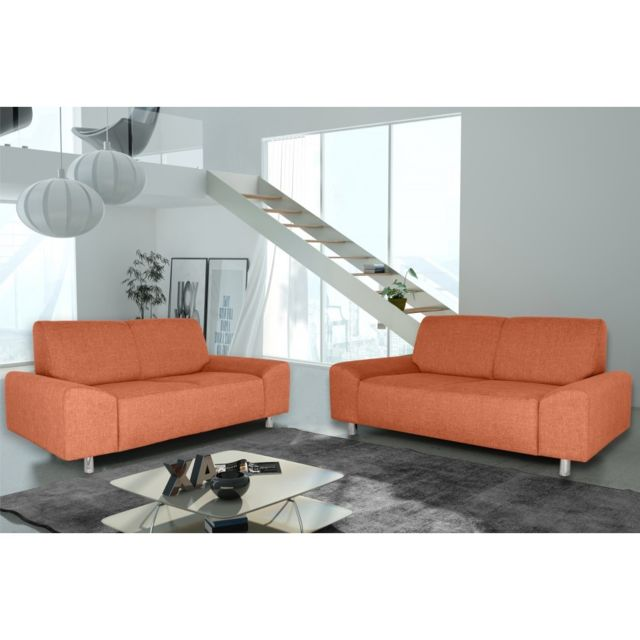 Rocambolesk Canapé Quick 3+2 savana 18 orange+pieds chrom sofa divan