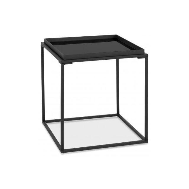 Declikdeco Table Basse Petite Carré en Verre Noir et Piétement en Métal blanc Ticot