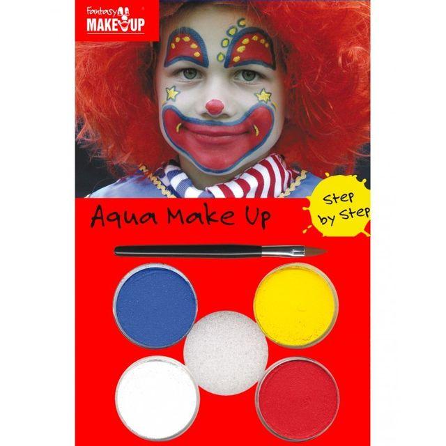 Marque Generique Kit maquillage clown Kit à maquillage de clown comprenant : 4 petits pots de fard à eau, 1 éponge, 1 pinceau.