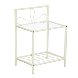 chevet en tubes d 39 acier laqu s poxy plateau verre hauteur 60 cm jose phine pas cher achat. Black Bedroom Furniture Sets. Home Design Ideas