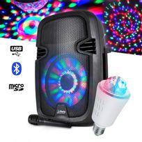 Party Sound - Enceinte mobile batterie Leds 300W + Ampoule effets lumineux 3 Led Rvb