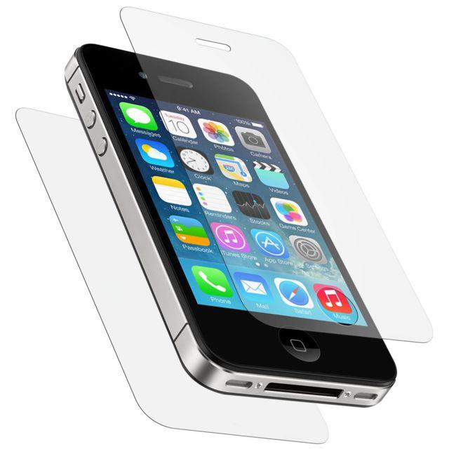 Avizar - 2x Film Verre Trempé Apple iPhone 4 - Protection Ecran et Dos Transparent