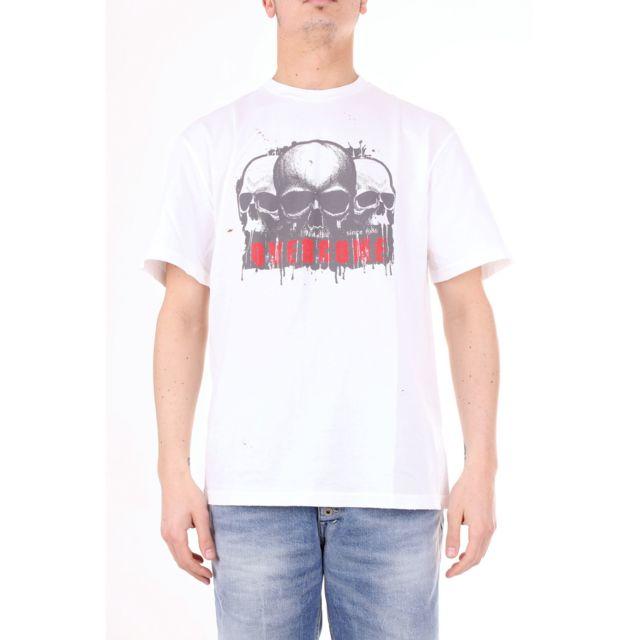 Overcome Homme Oc11U103WHITE Blanc Coton T-shirt