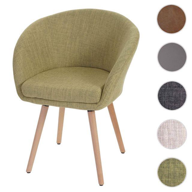Mendler Chaise de salle à manger Malmö T633, fauteuil, design rétro des années 50 ~ tissu, vert clair