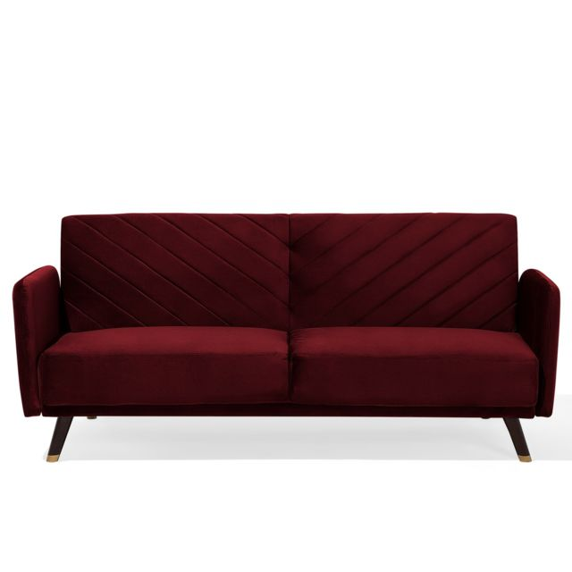 BELIANI Canapé convertible en tissu rouge SENJA