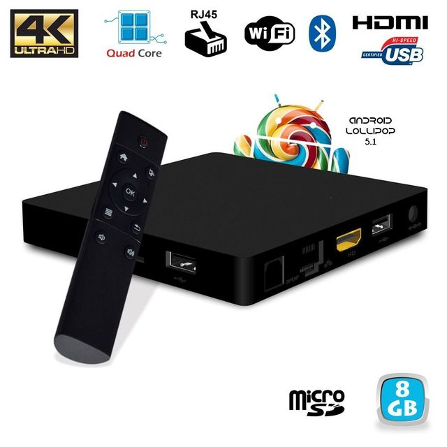 Yonis Mini Pc Android Tv Box 4K Quad Core Lollipop 5.1 Bluetooth WiFi 8Go