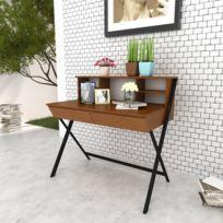 Vida - Table d'ordinateur avec 2 tiroirs Brun