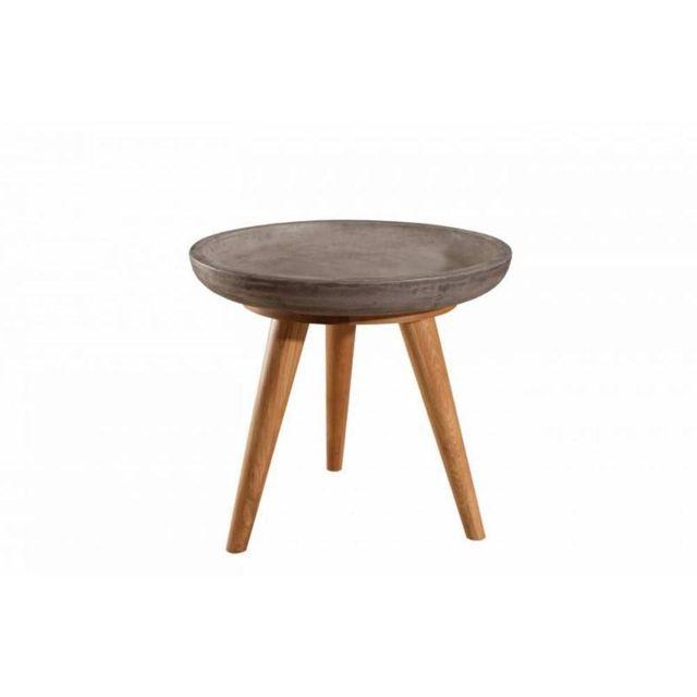 Inside 75 Table basse industrielle ronde 50 cm Nino en chêne et béton