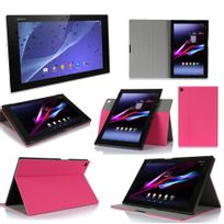 Xeptio - Sony Xperia Z2 Tablet - Housse protection Ultra Slim Cuir Style rose - Etui coque