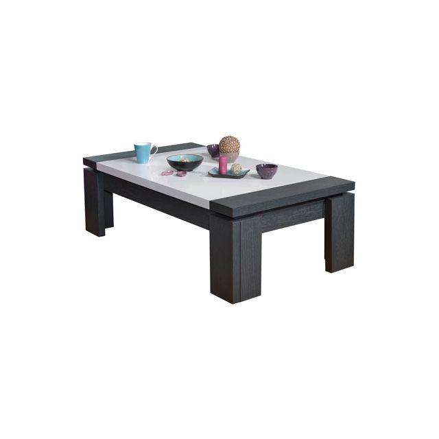 Table basse 125x70cm coloris blanc laqué et gris